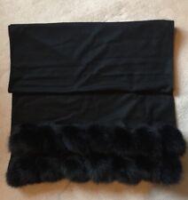 Stunning Harrods Of London Fox Fur Trim Cashmere Shawl In Black. Rrp £1250