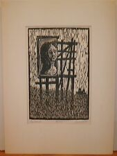 """Signboard"" Lady Looking Over Field Woodcut 4/35 -1964-William Gorman"