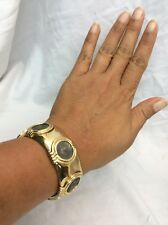 Beautiful Vtg Carolee Faux Coins Flexible Gold Tone Cuff bracelet