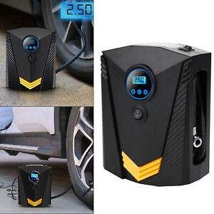 12V Electric Car Tyre Inflator Pump Digital Portable Air Compressor & 3 Adapters
