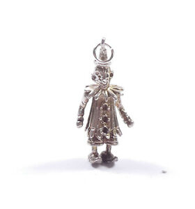 Vintage Clown Charm Sterling Silver Articulated 4.4g