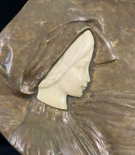 Bronze Artist Peter Tereszczuk Tray Art Nouveau Profile of Girl Looking At Farm
