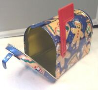GINGERBREAD MAN TIN MAILBOX FROM OUR HOUSE TO  YOURS BLUE BACKGROUND EC