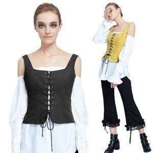 Women Vest Coat Steampunk Vest Lace-Up Tops Fashion Camisole Waistcoat