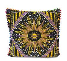 "24"" Square Pillow Cushion Cover Sofa Decorative Indian Burning Sun Moon Throw"