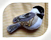 Hand made Song Bird Beaded Felt Ornaments Chickadee Christmas Ornament