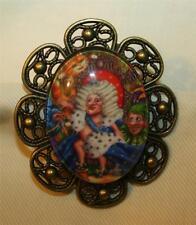 Handsome Petal Rim Colorful Alice in Wonderland Cameo Brasstone Brooch Pin