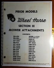Wheel Horse Tractor Mower Attachment Parts List & Instruction Manual A-7137 5/70
