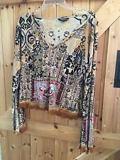 """Lovely Hippie Boho Top Beige Sequinned & Beaded Patterned Size L Chest 38""""-40"""""""