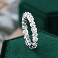 2.20 TCW Round Cut Moissanite Band Engagement Ring In 14k White Gold Plated