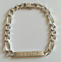 Bracelet argent massif maille figaro alternée 6mm/ prénom ELODIE