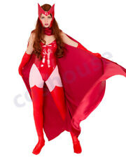 Superheroine Cosplay Costume Bodysuit Inspired by Scarlet Witch with Cloak
