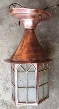 Antique Copper Outdoor Lantern Porch Ceiling Light Fixture Exterior Glass Panels