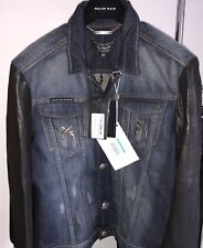 65% OFF NEW PHILIPP PLEIN Denim jacket With Leather Sleeves XL authentic