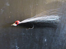 6 Clouser Minnows Black / White # 4 Saltwater Fishing Flies lures Brookside