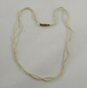 PRETTY ANTIQUE GEORGIAN VICTORIAN 9CT GOLD SEED PEARL 2 STRAND NECKLACE CHOKER