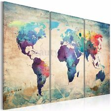 Colourful Art Retro World Map Canvas Prints Painting No Frame Wall Display Decor