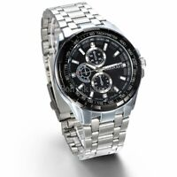 Men's Outdoor 3 Time Zone Stainless Steel Band Analog Round Quartz Wrist Watch