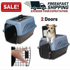 New listing Dog Crate Two Door Top Load Cat Pet Travel Carrier Cage House Indoor Outdoor