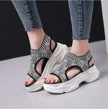Fashion Korean Womens Wedge Platform Peep Toe Floral Summer Sandals Shoes