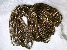Vtg HANK BRONZE METALLIC GLASS 2 CUT 10/0 HEX BEADS #121317j