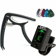 More details for digital electronic clip-on guitar tuner w/ lcd display & black guitar capo set