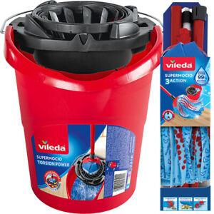 Vileda Mop & Bucket Set SuperMocio Compact Microfibre Head-  Bucket with Wringer
