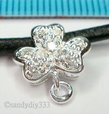 1x STERLING SILVER CZ CRYSTAL FLOWER NECKLACE SLIDE PENDANT BAIL CONNECTOR #1231