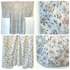 Uchikake NWOT White Pink Roses Black Print Japanese Kimono Robe Lightweight DS3