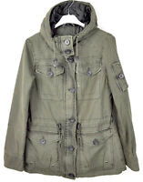 LEVI'S STRAUSS Women's XS Olive Green Jacket 100% Cotton Hooded Casual Coat Top