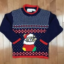 Vintage 1980's Basic Editions Teddy Bear Christmas Holiday Kids Youth Sweater 6