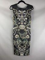 Ted Baker 3 UK 12 Scuba Wiggle Dress Snake Gem Print Stretchy Bellia Jewel