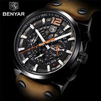 BENYAR Mens Date Chronograph Fashion Leather Band Pilot Army Quartz Wrist Watch