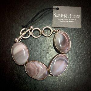 NWT Charles Albert Designer Fine 950 Sterling Agate Toggle Bracelet