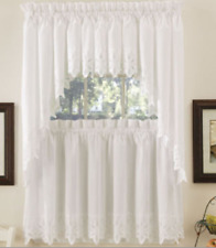 "*Hanna Kitchen Rod Pocket Curtain Tier Pair 60""W x 24""L White NEW"