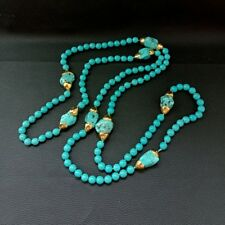 52'' Blue Turquoise Yellow Gold Plated Freeform Turquoise Necklace