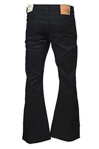 Men's LCJ Denim Flare Stretch Indie Retro Jeans 70s  Bell Bottoms LC16 Black