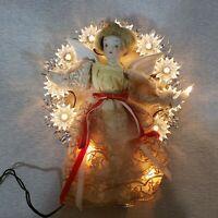 Vintage Santas World Electrified Porcelain Head Christmas Angel 12 Light TreeTop