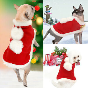 Pet Dog Cat Christmas Costume Xmas Party Cat Clothes Red Cape Cloak Dress Up S-L