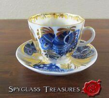 USSR Golden Garden Bird Cup Saucer Set Lomonosov Imperial Russian Porcelain Fact