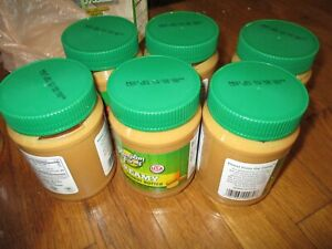 6 Hampton Farms Creamy Peanut Butter jars, 16 oz / 1 lb EA (BB dates ALL in 2022