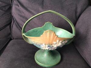 "Vintage ROSEVILLE ART POTTERY 358-12"" Basket COMSOS PATTERN Art Deco Green as-is"