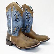 NIB Laredo Lad Tan & Distressed Blue 11 STKMN W41616 Western Cowgal Boots sz 7.5