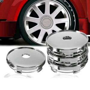4x60mm Universal Chrom Wheel Tire Center Blank Replacement Hub Caps Cover Silver