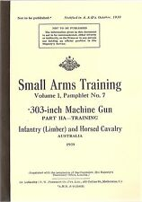 303 INCH MACHINE GUN (VICKERS) PART IIA MANUAL - BOOKLET AUSTRALIA 1939