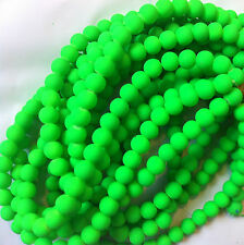 8mm Neon Grass Green, Opaque Frosted Glass Round Beads, Full Strand 45+