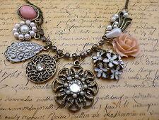 Elegant Multi Charm Flower Rose Floral Pearl Crystal Bronze Jewellery Necklace