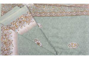 Vintage Indien Saree Pure Crêpe Soie Imprimé Artisanat Robe Sari Tissu Vert Art