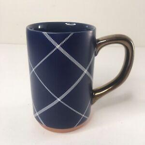 Threshold Stoneware Coffee Tea Mug Cup Dark Blue White Plaid Buffalo Check