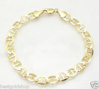 8mm Mens Flat Mariner Gucci Link Chain Bracelet Real Solid 10K Yellow Gold